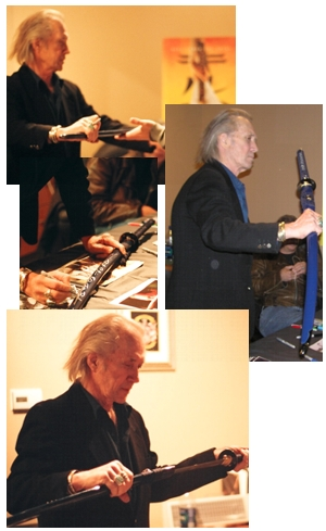 David Carradine admiring the Paul Chen Orchid Katana