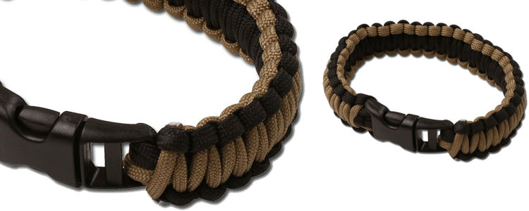 Black/Coyote Paracord Survival Bracelet - Small