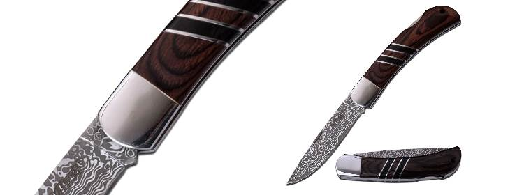 Brown Damascus Folder - MT-1004BR - Mtech USA Knives